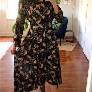 ZARA floral silky midi dress